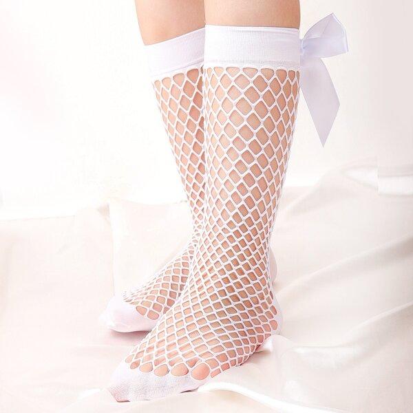 Toddler Girls Bow Decor Fishnet Socks, White