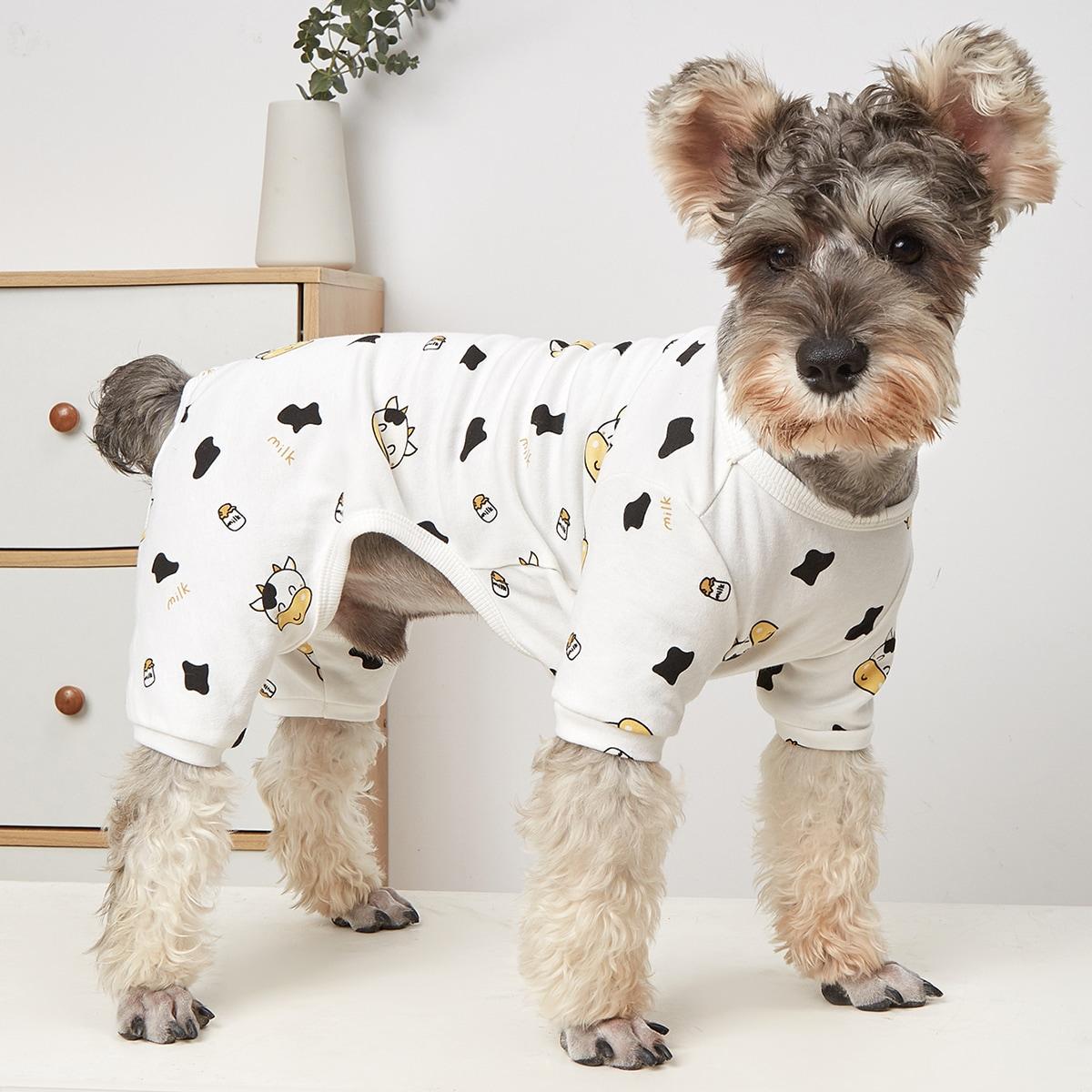 Pyjama mit Karikatur Kuh Muster für Haustiere