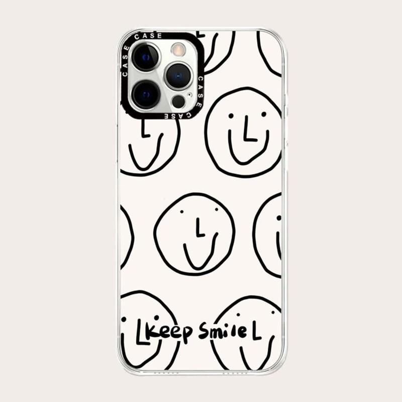 Smile Print Phone Case, Black