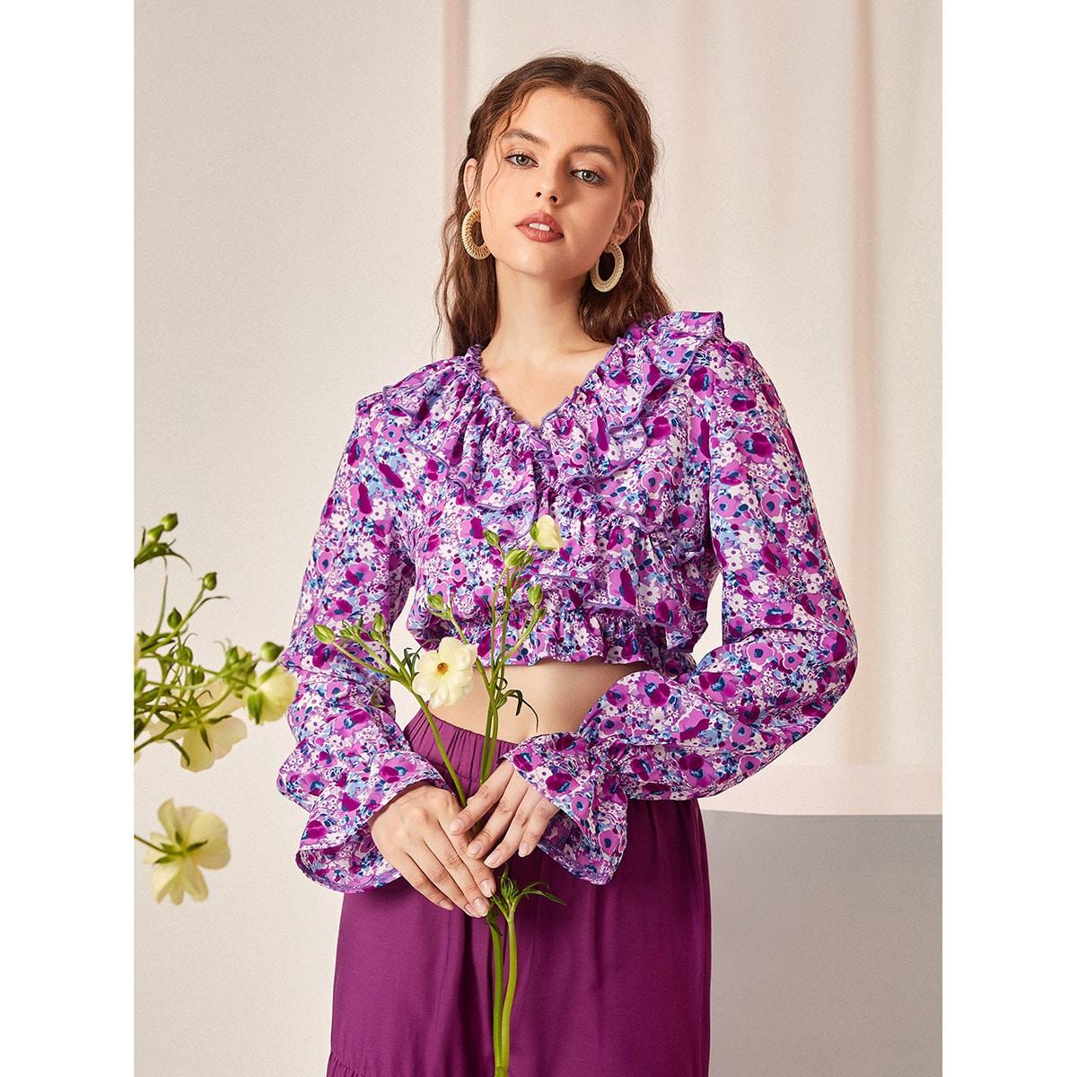 Блуза с v-образным вырезом с рукавами-воланами цветочным рисунком SheIn swblouse03210324856