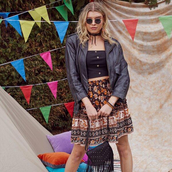 Plus Buttoned Front Tube Top & Floral Skirt Set, Multicolor