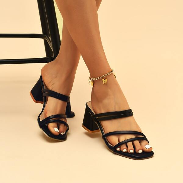 Thin Strap Chunky Heeled Mule Sandals, Black