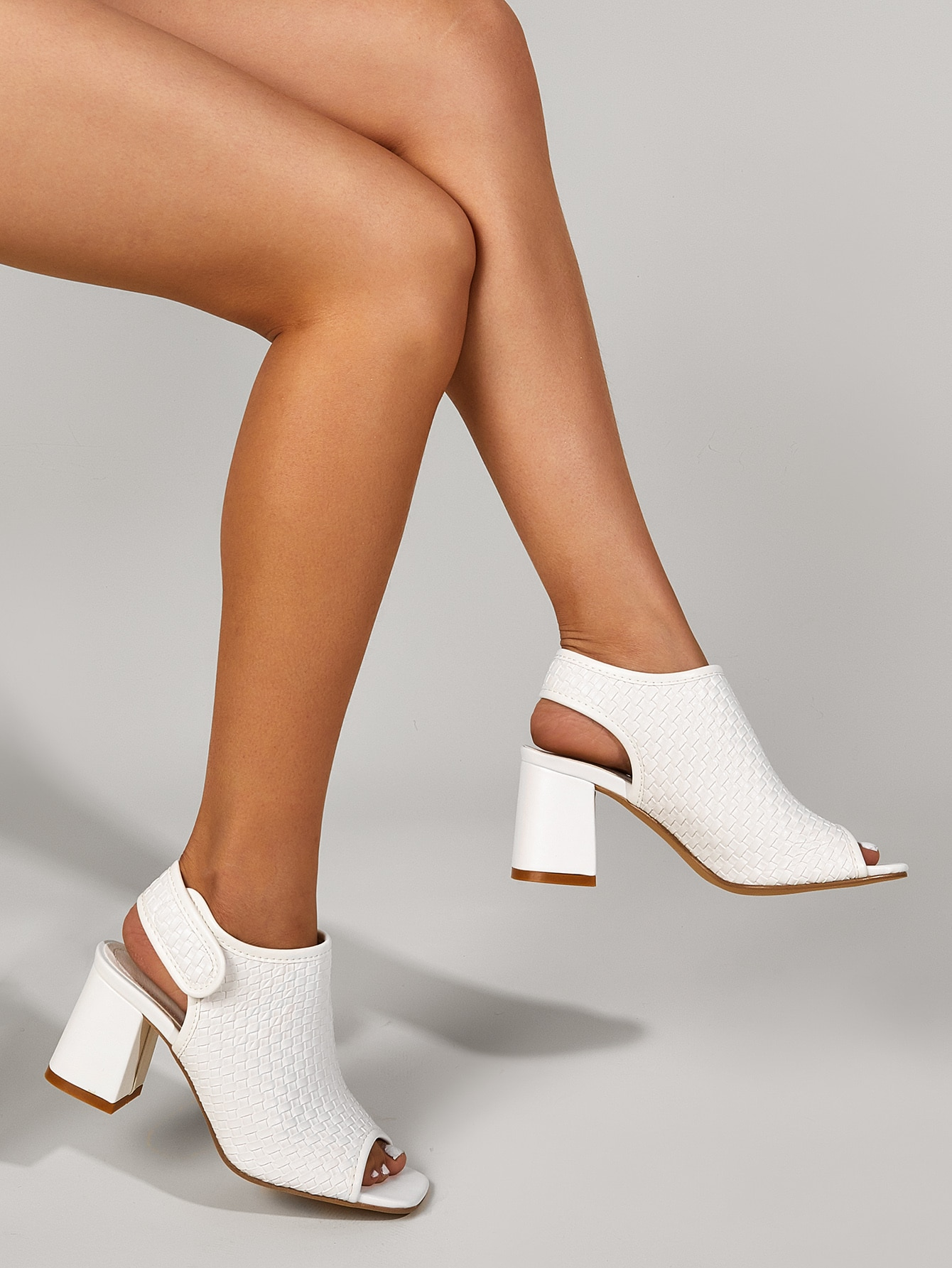 Woven Pattern Chunky Heeled Sandals Boots