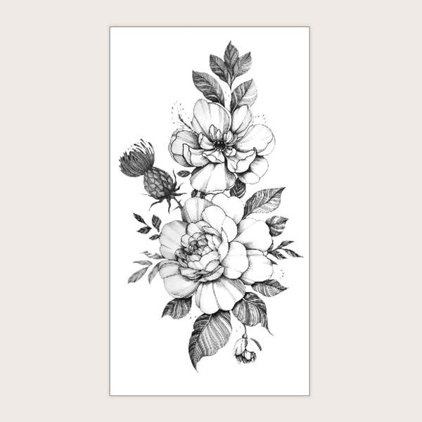 1sheet Flower Pattern Tattoo Sticker, Black and white