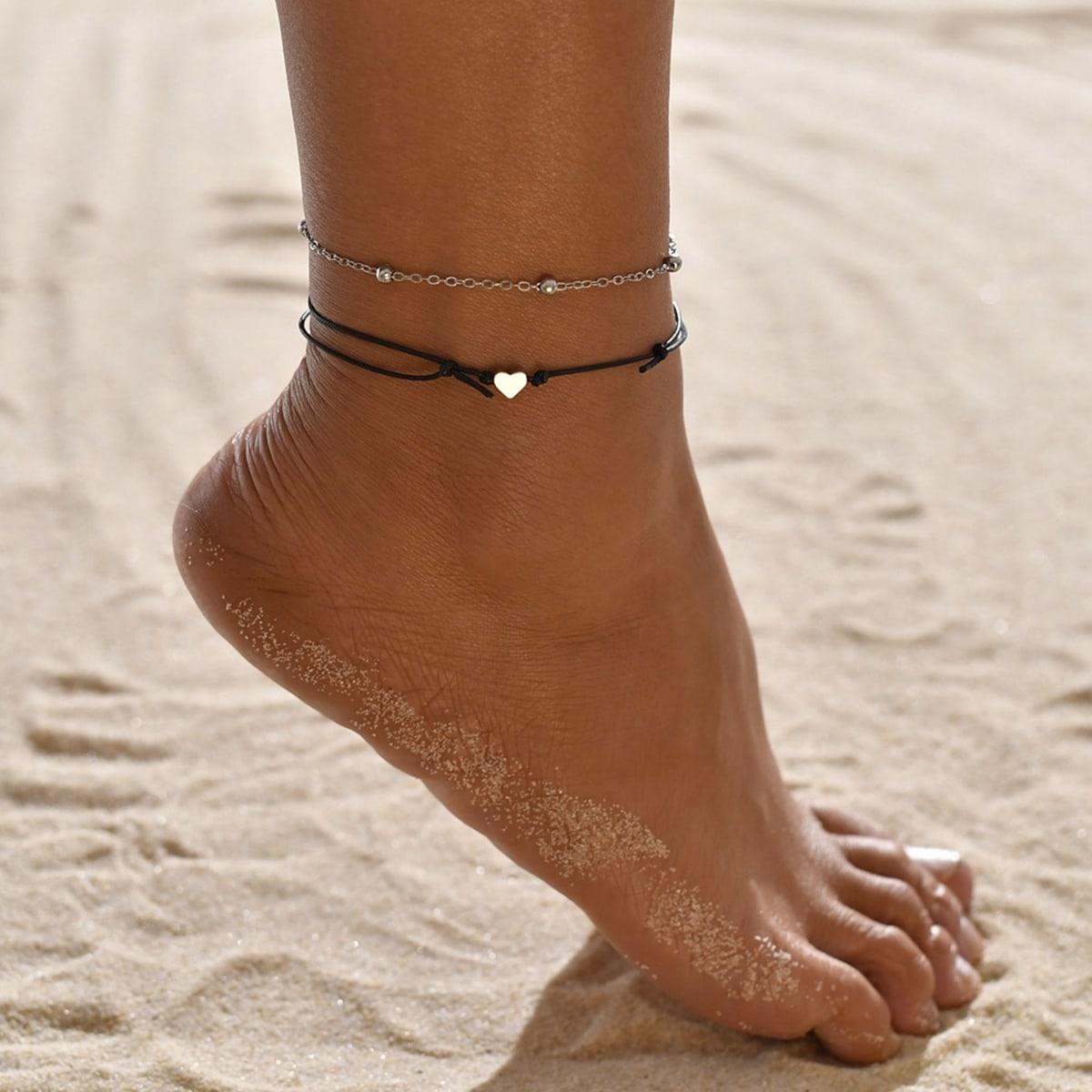 Многослойный ножной браслет с бусами и декором сердечка 2шт от SHEIN