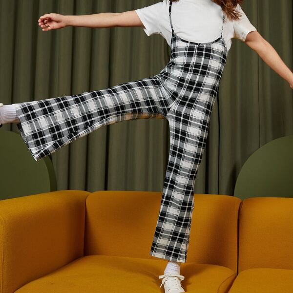 Girls Flare Leg Plaid Pinafore Jumpsuit Without Top, Black and white