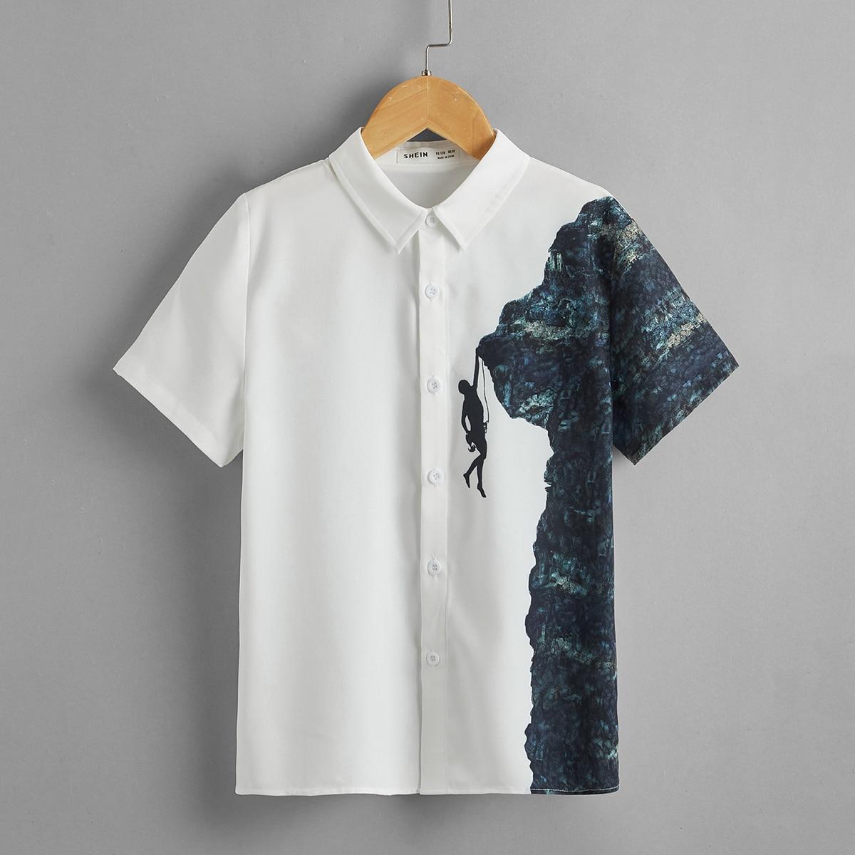 Однобортная рубашка с рисунком для мальчиков