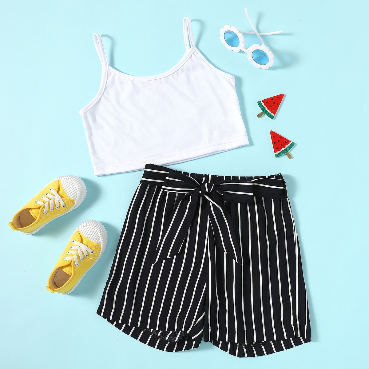 Girls Crop Cami Top & Belted Striped Shorts, SHEIN  - buy with discount