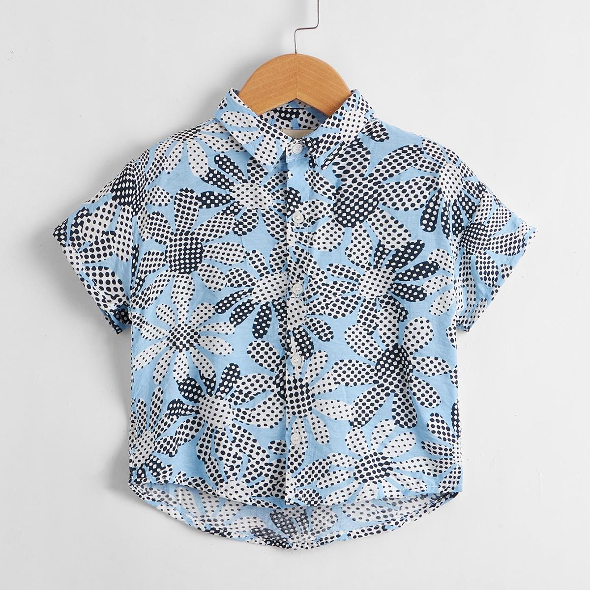 Рубашка с цветочным рисунком в горошек для мальчиков