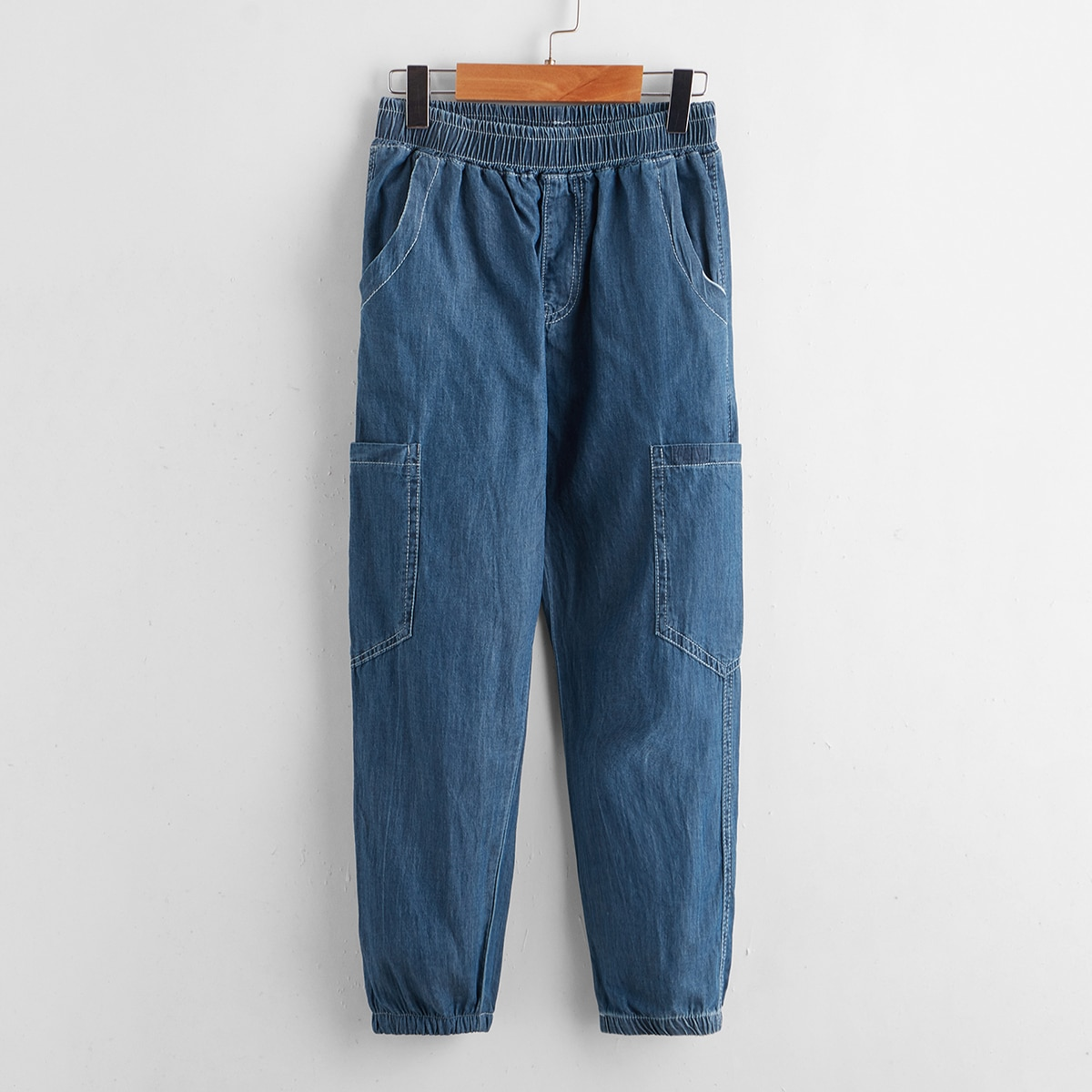 Toddler Boys Pocket Patched Tapered Jeans