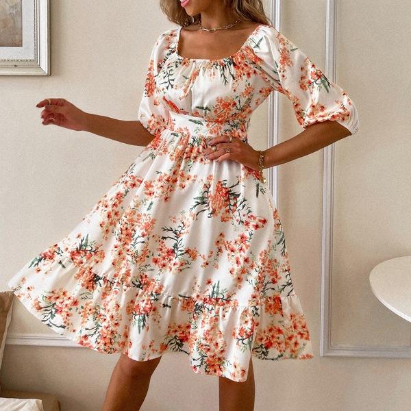 Ruffle Hem Floral Print A-line Dress, Multicolor
