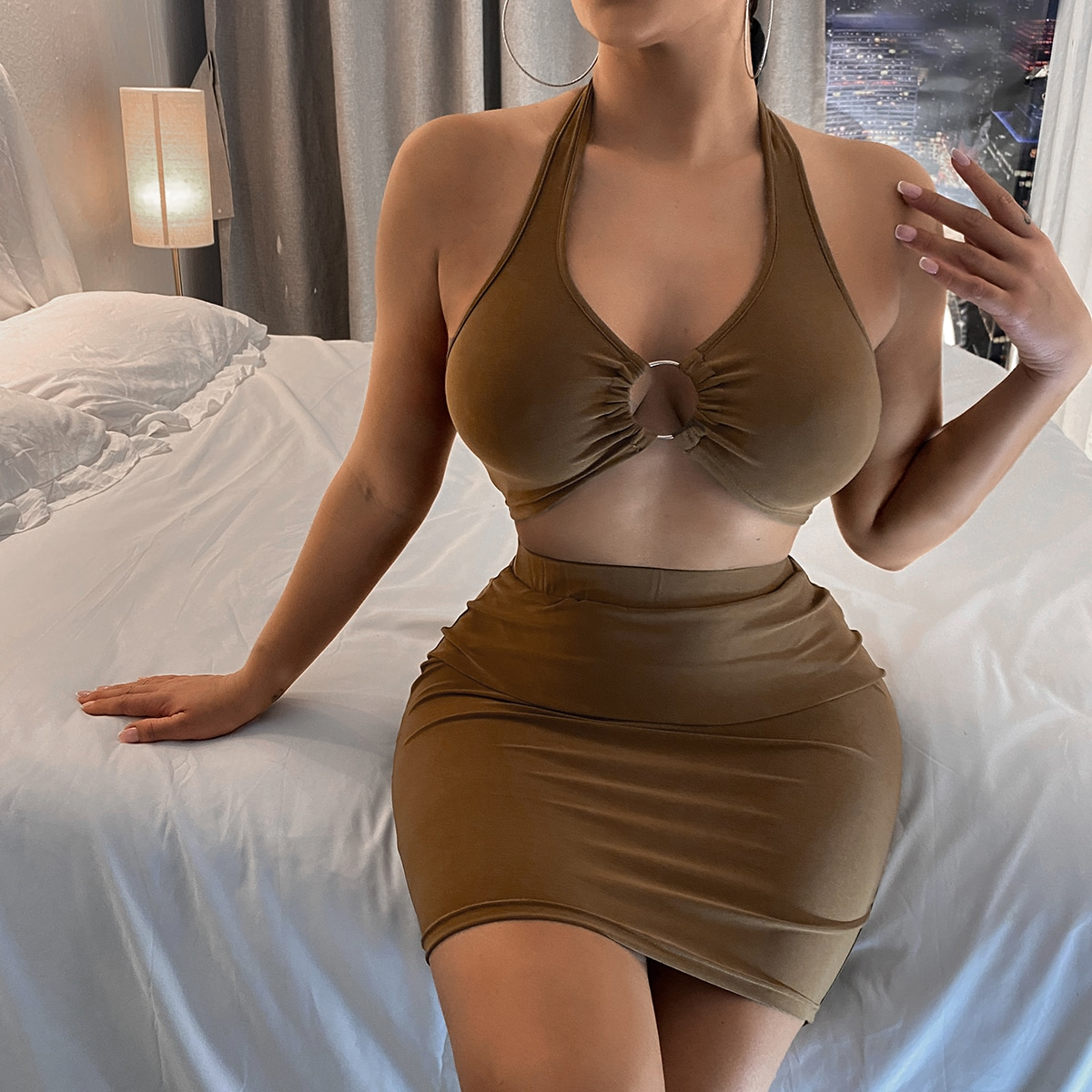 Outfit de dos piezas Anilla Liso Sexy