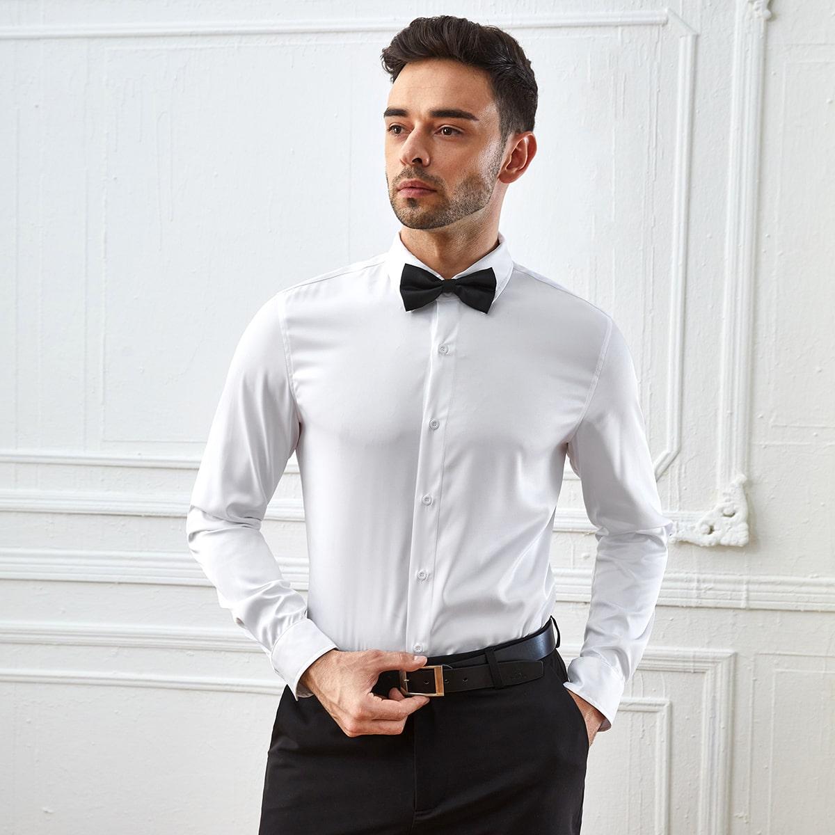 Пуговица Одноцветный Работа Мужские рубашки