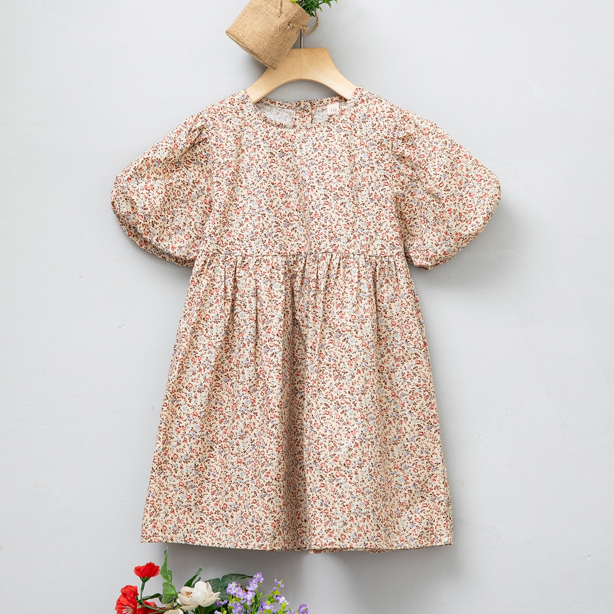 Toddler Girls Ditsy Floral Puff Sleeve Smock Dress