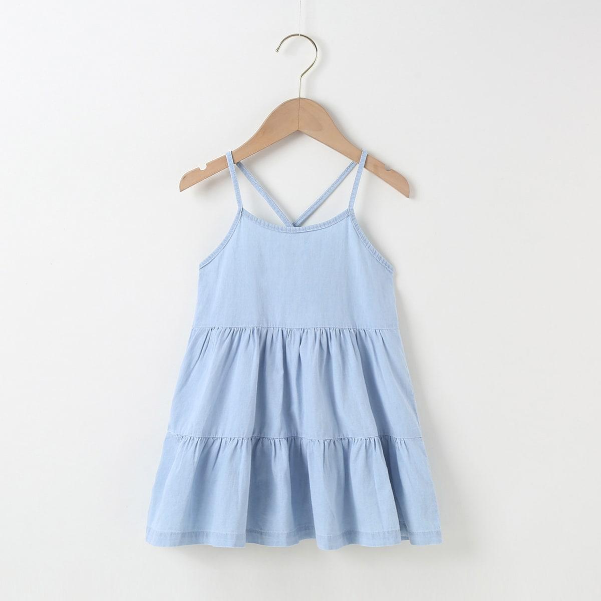 для девочек Джинсовое платье с оборками с перекрещенной спинкой SheIn skdress25210402846