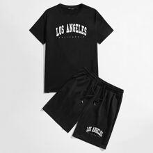 Guys Letter Graphic Top & Shorts PJ Set