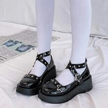 Star Buckle Mary Jane Wedges