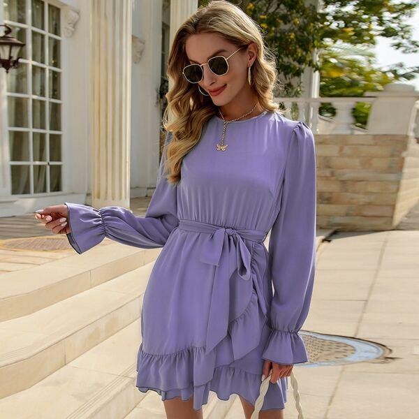 Оригинальное платье с поясом, Лиловый фиолетовый