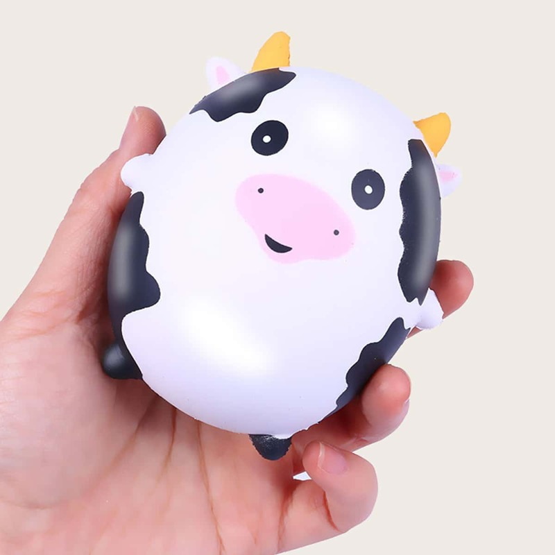 1pc Cartoon Cow Stress Relief Squeeze Toy, Black and white