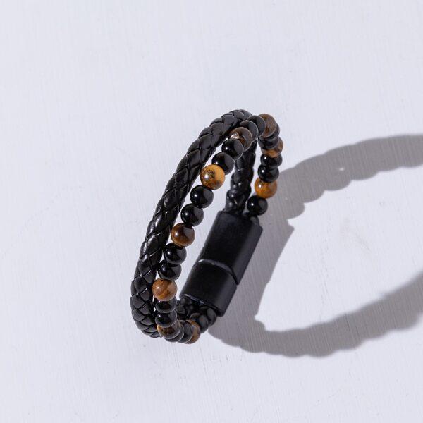 Men Beaded & Braided Layered Bracelet, Multicolor