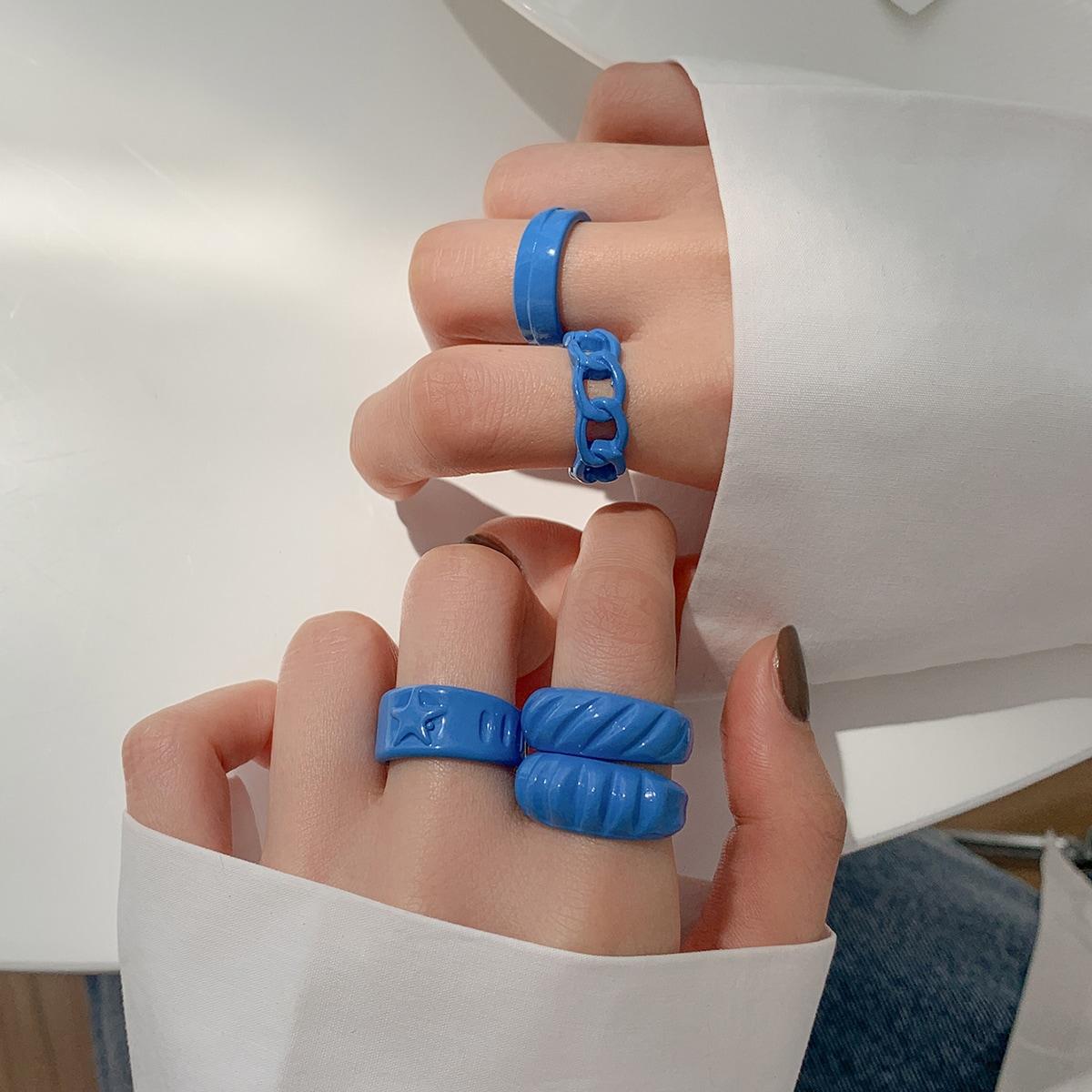 5pcs Simple Cuff Ring