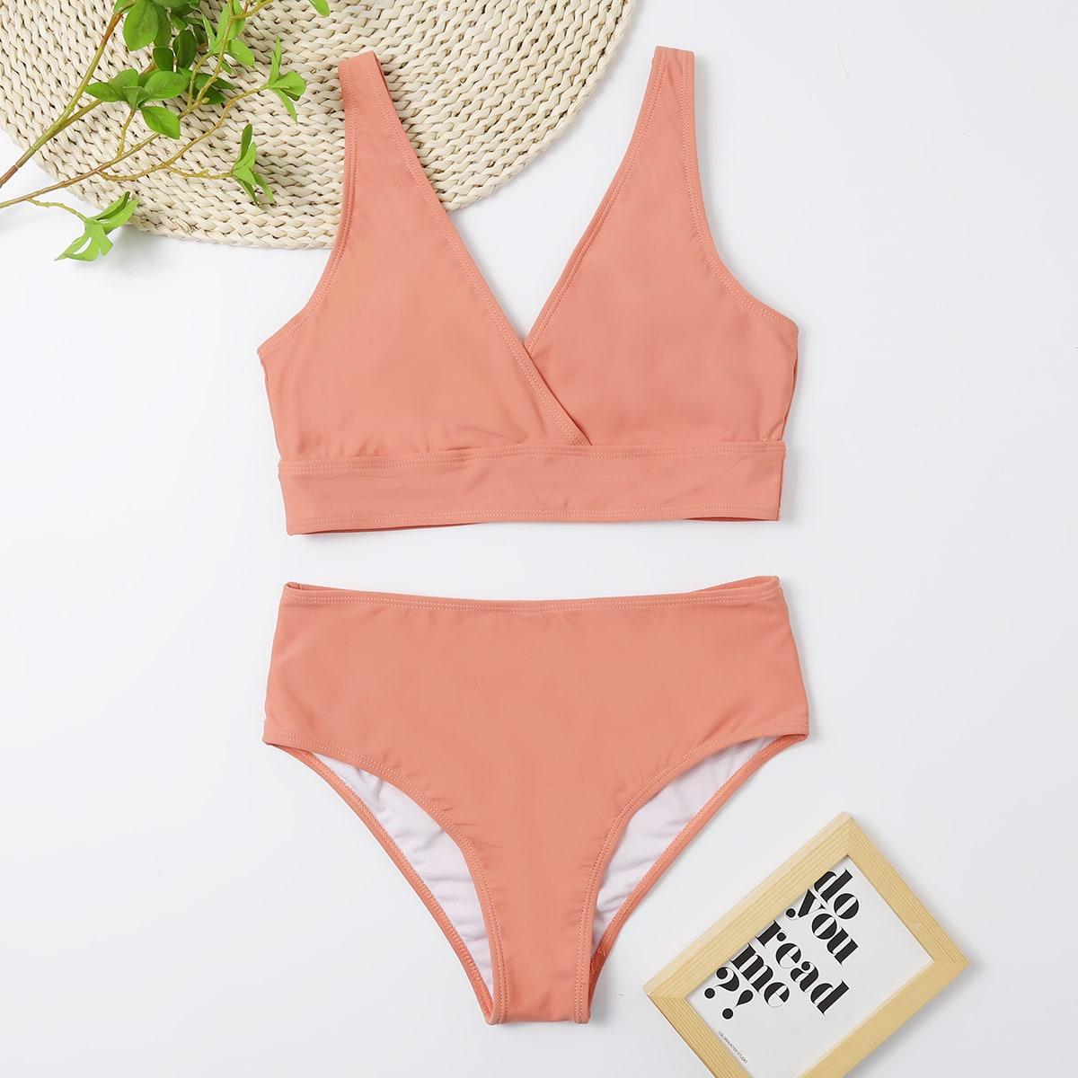 Wrap V Neck Bikini Swimsuit, SHEIN  - buy with discount