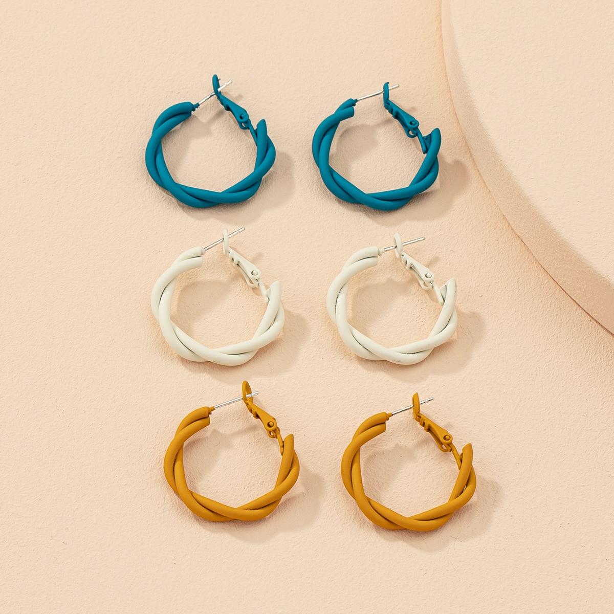 3pairs Twist Hoop Earrings