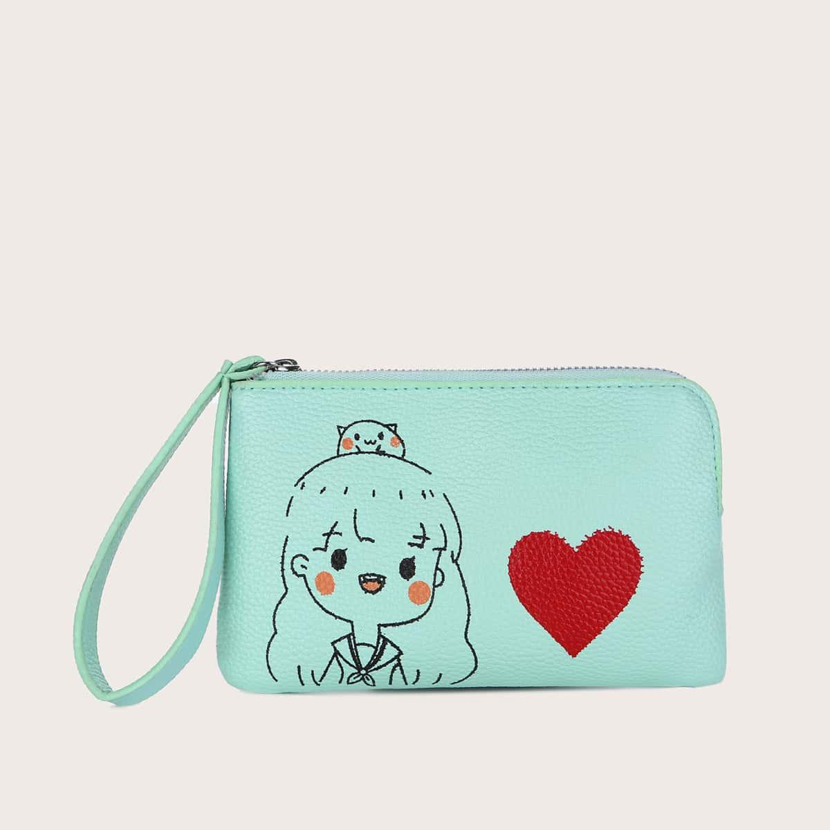 SHEIN Hart & figuur grafische portemonnee met polsbandje