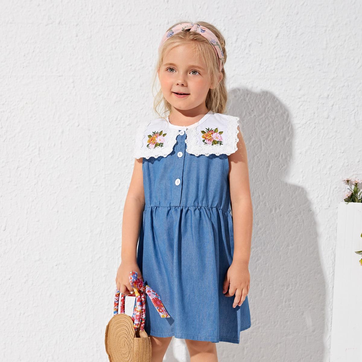 Джинсовое платье с кружевной отделкой и цветочной вышивкой для девочек SheIn skdress03210317259