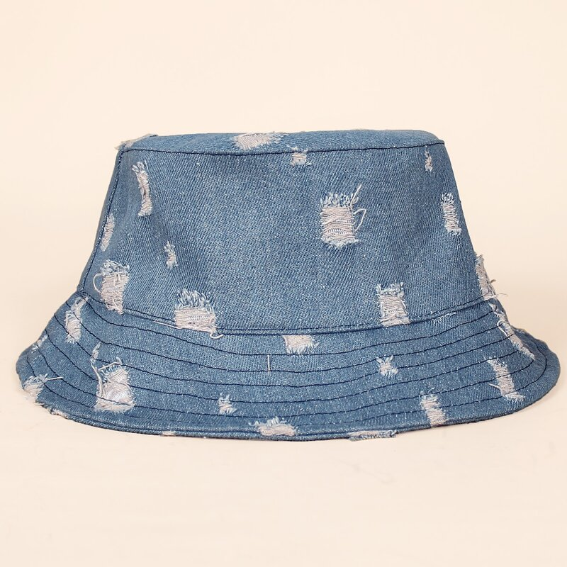 1pc Ripped Bucket Hat, Baby blue