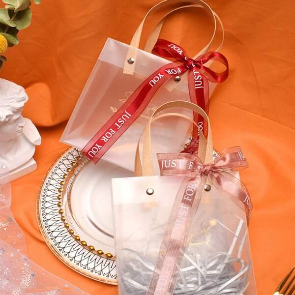 2pcs Ribbon Decor Gift Bag, Multicolor