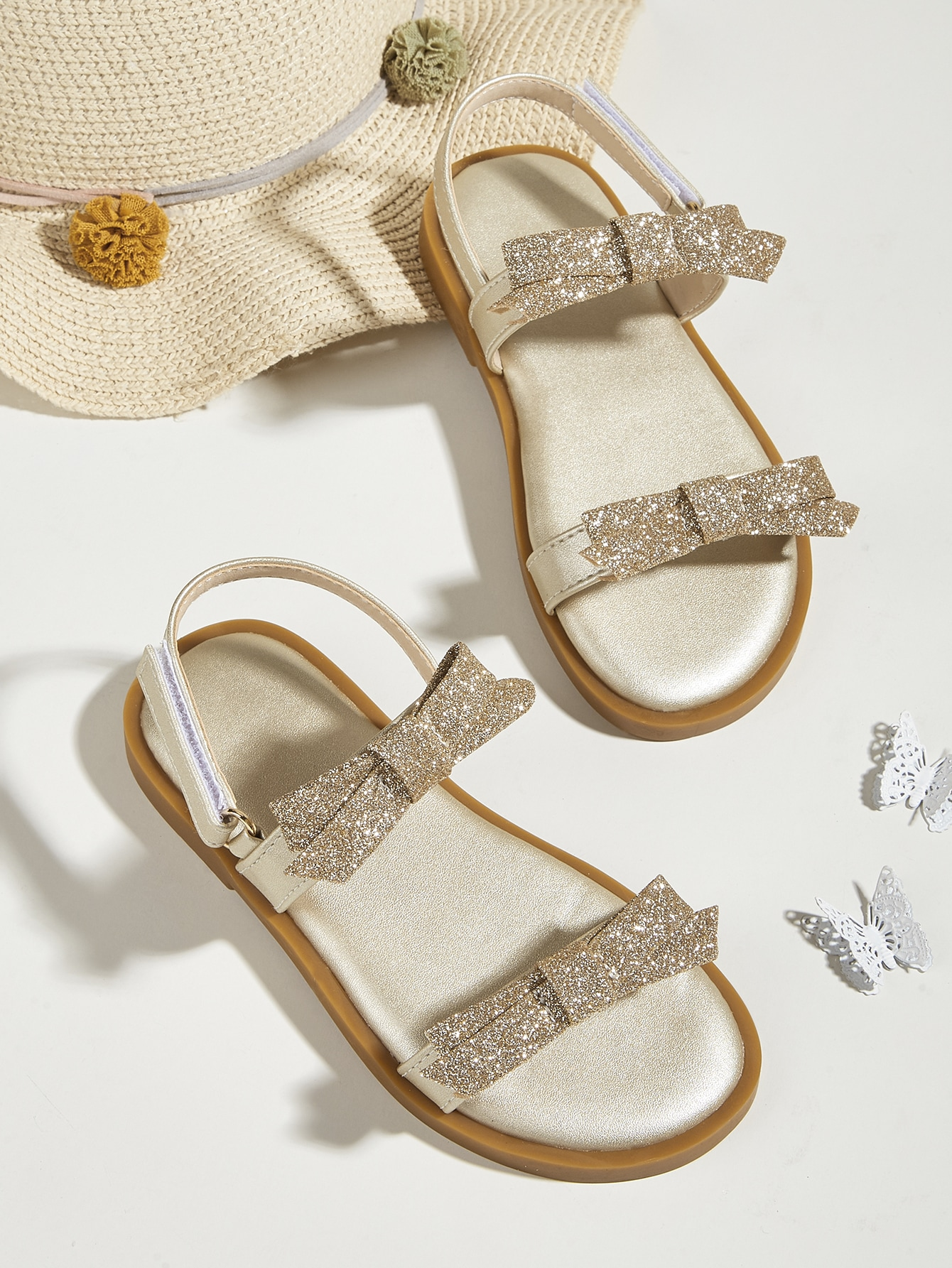 Girls Metallic Glitter & Bow Decor Sandals