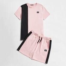 Guys Patched Detail Colorblock Tee & Track Shorts Set