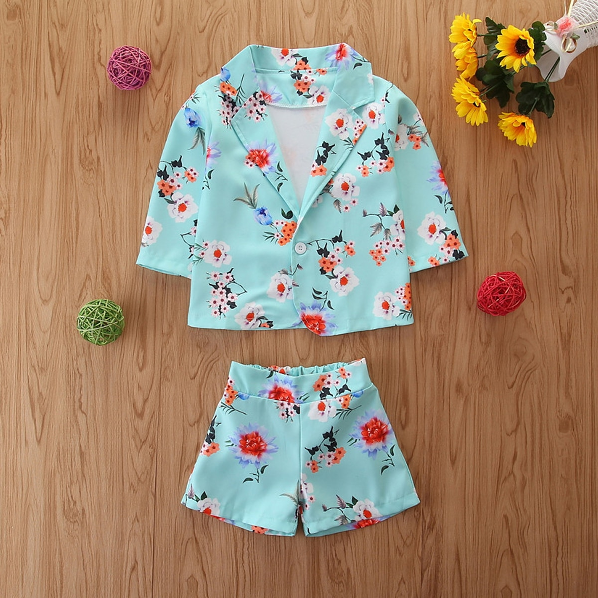 Toddler Girls Floral Print Button Front Blouse & Shorts