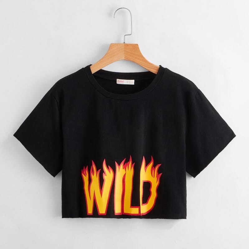 Fire Letter Crop Tee, Black
