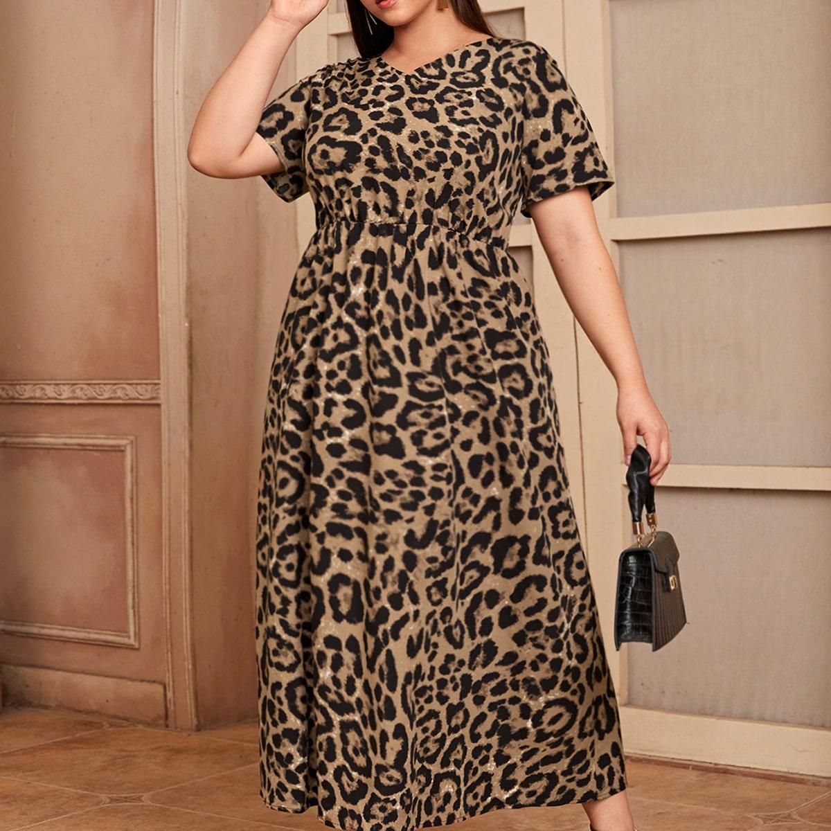 Plus Leopard V-neck A-line Dress