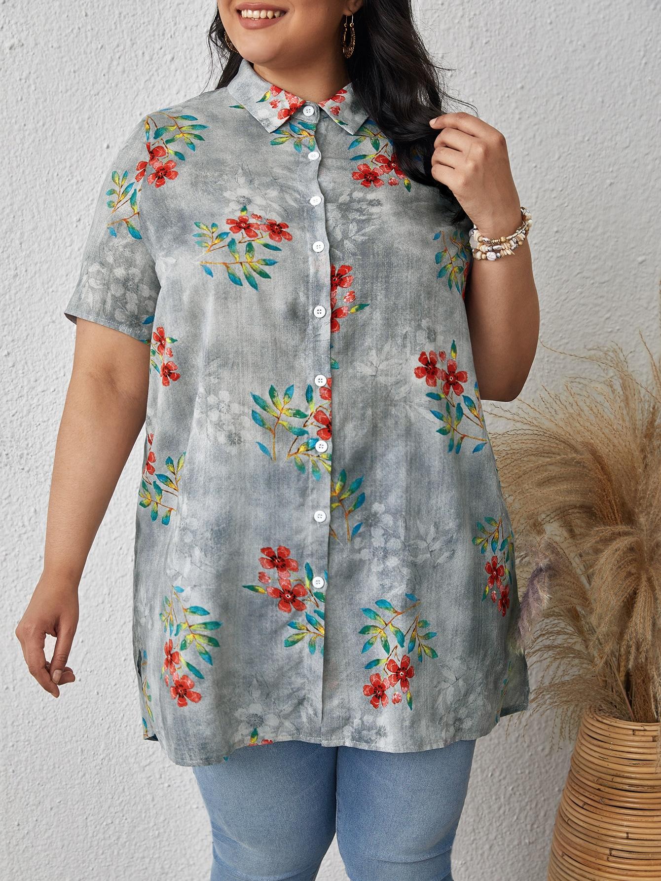 Plus Floral Print High Low Blouse