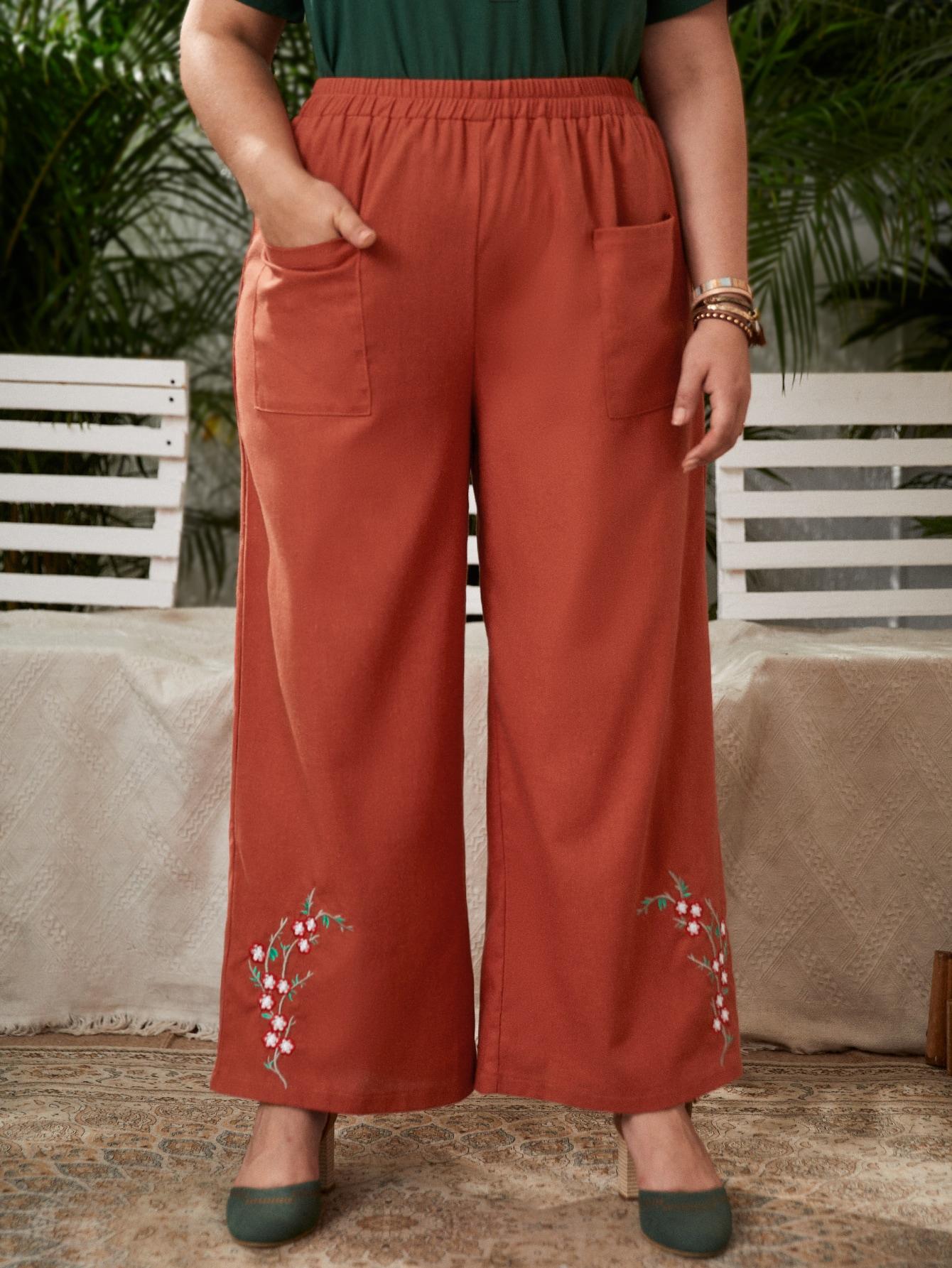 Plus Dual Pockets Floral Embroidery Wide Leg Pants