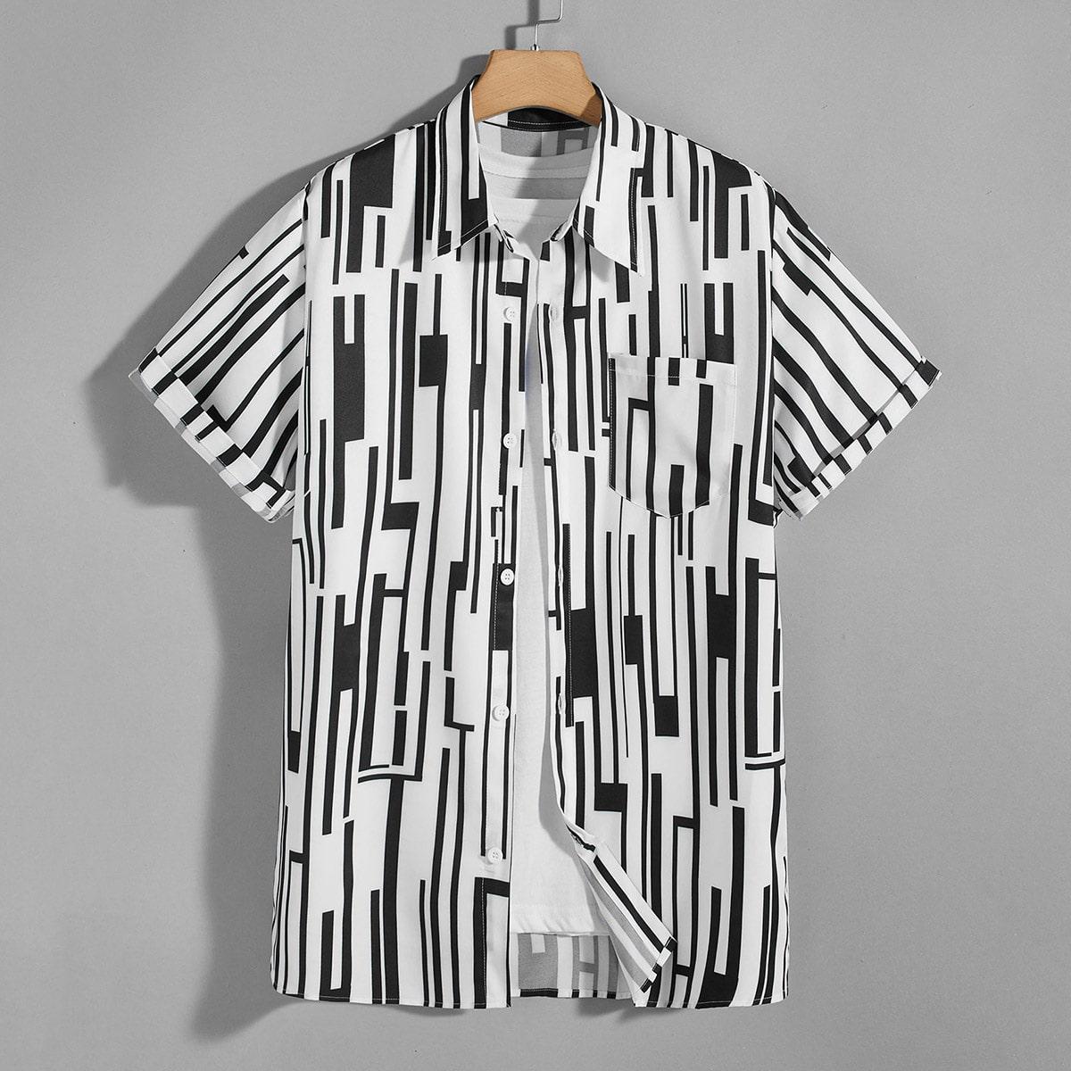 Мужская рубашка в полоску SheIn smshirt03210305961