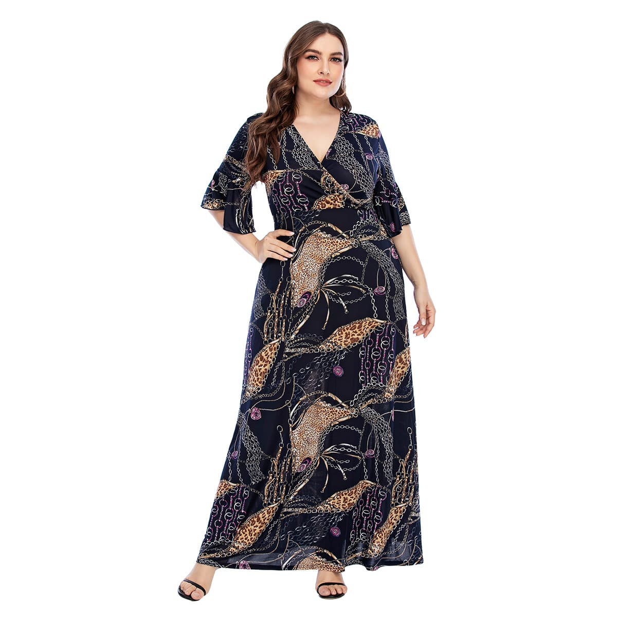 Plus Leopard And Chain Print Surplice Neck Maxi A-line Dress