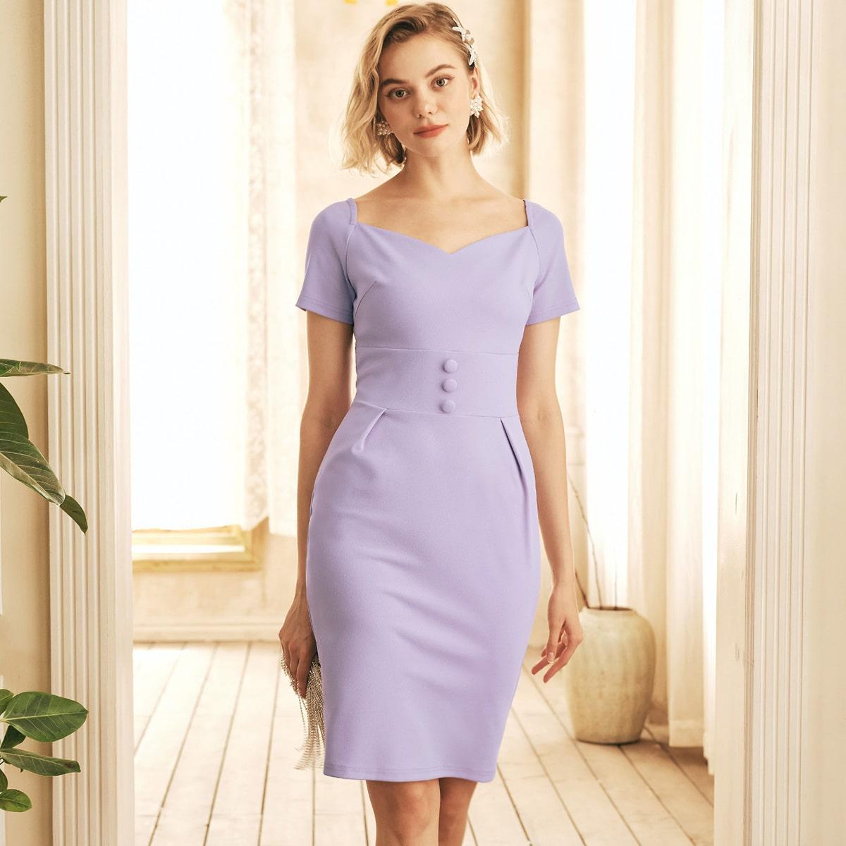 Платье с глубоким декольте с молнией разрез SheIn swdress31210409268