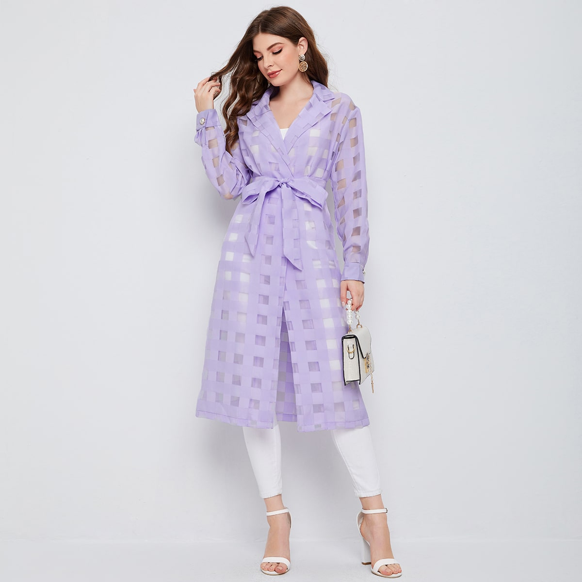 Notched Collar Belted Plaid Organza Coat