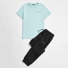 Guys Letter Embroidered Tee & Joggers Set