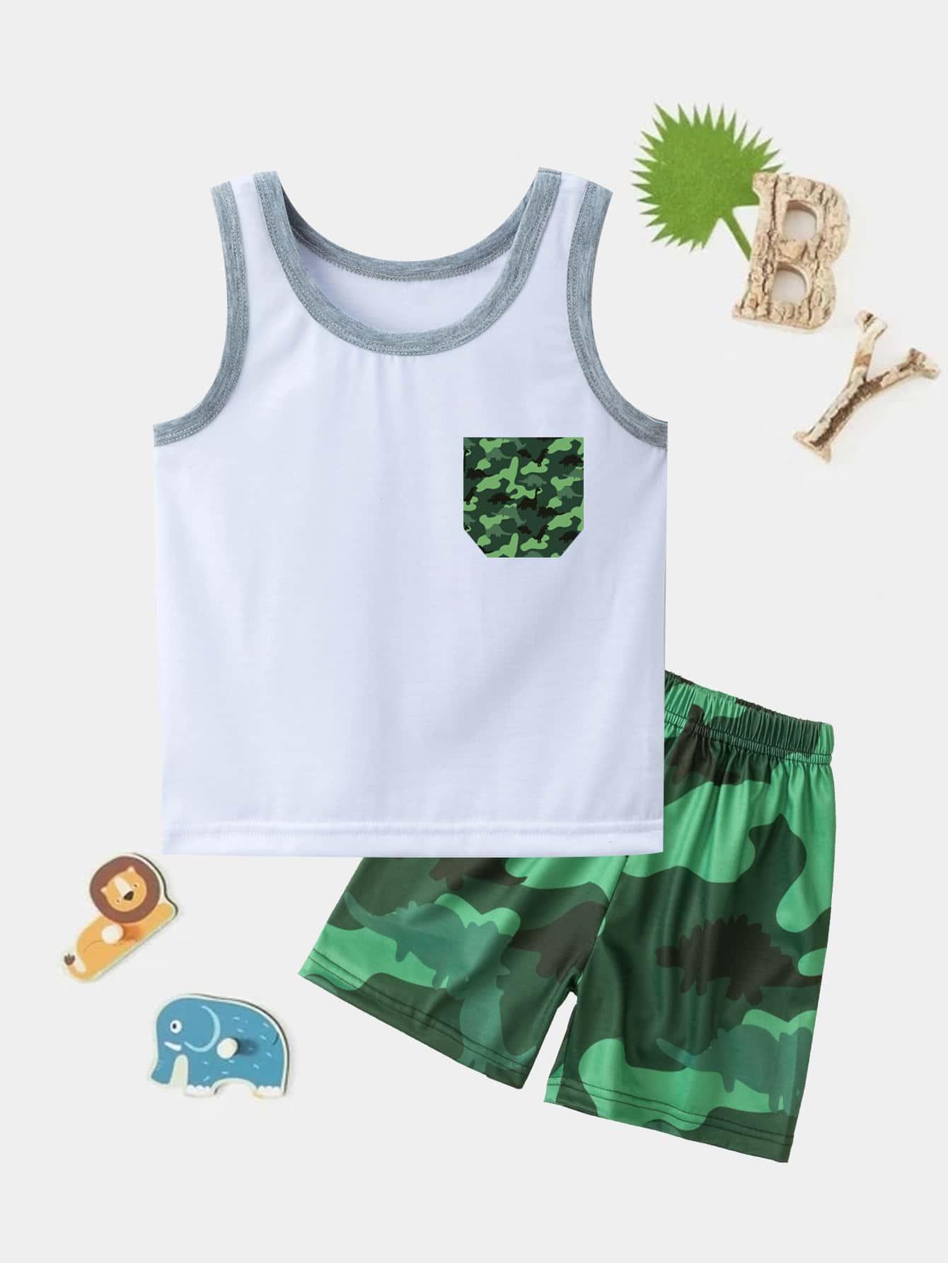 Toddler Boys Camo Tank Top With Shorts