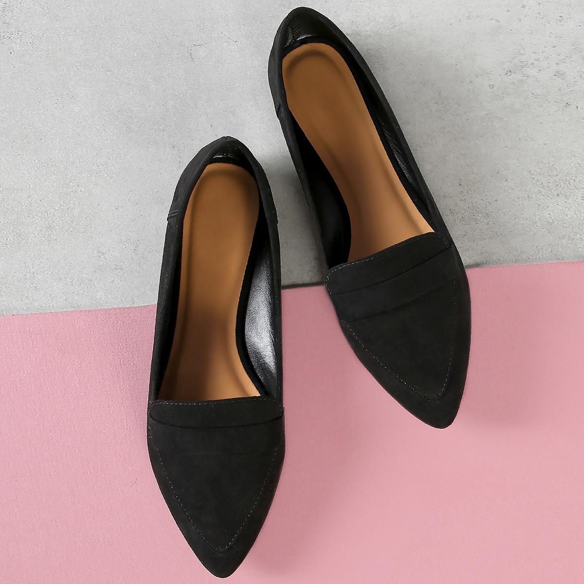искусственный нубук остроносые туфли без каблуков от SHEIN