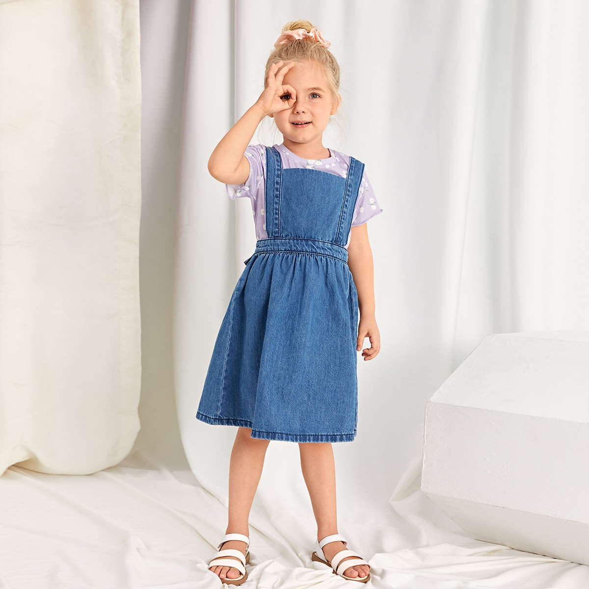 крест на крест Одноцветный Институтский Джинсовые платья для девочек SheIn skdress03210310071