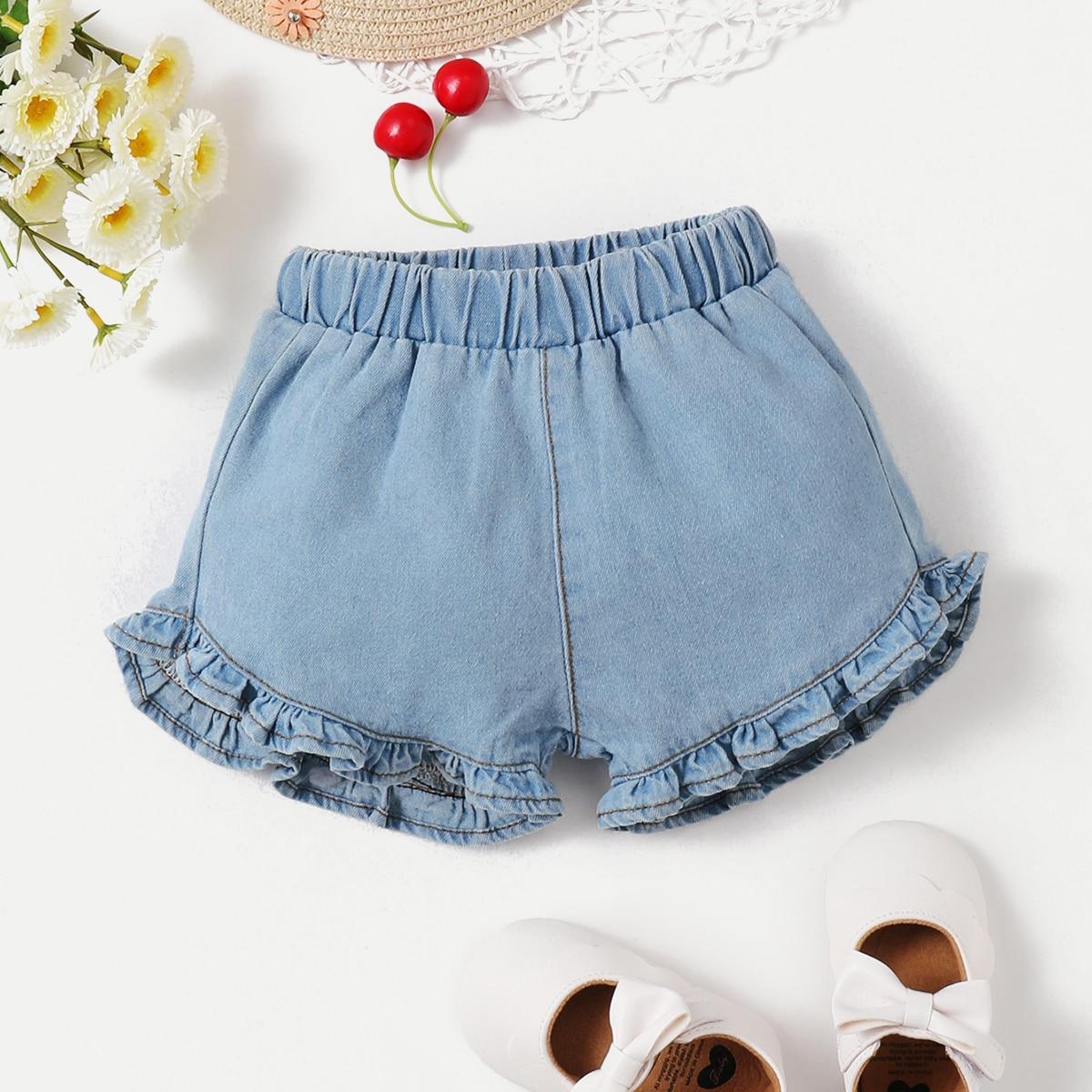 Джинсовые шорты с оборкой для девочек от SHEIN