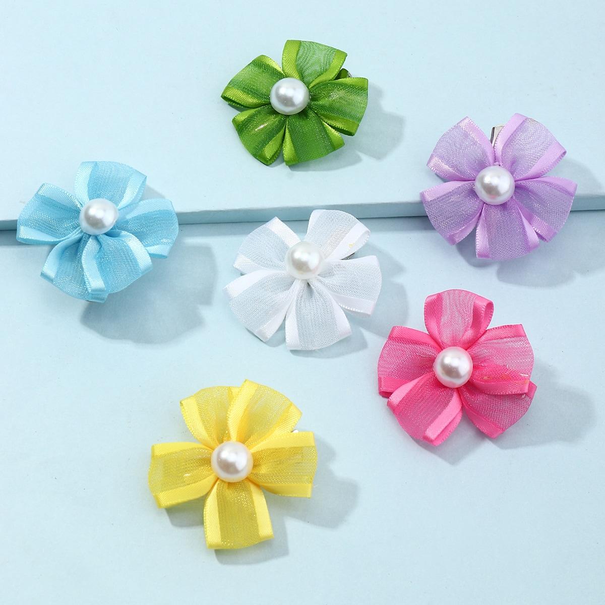 6 Stücke Kleinkind Mädchen Haarspange mit Blumen Dekor