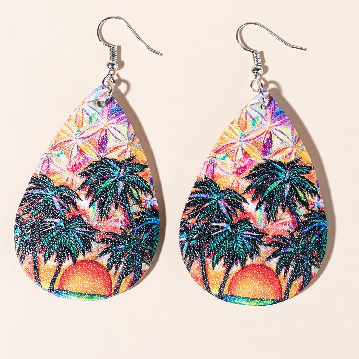 Tree Pattern Water-drop Design Earrings, SHEIN  - buy with discount