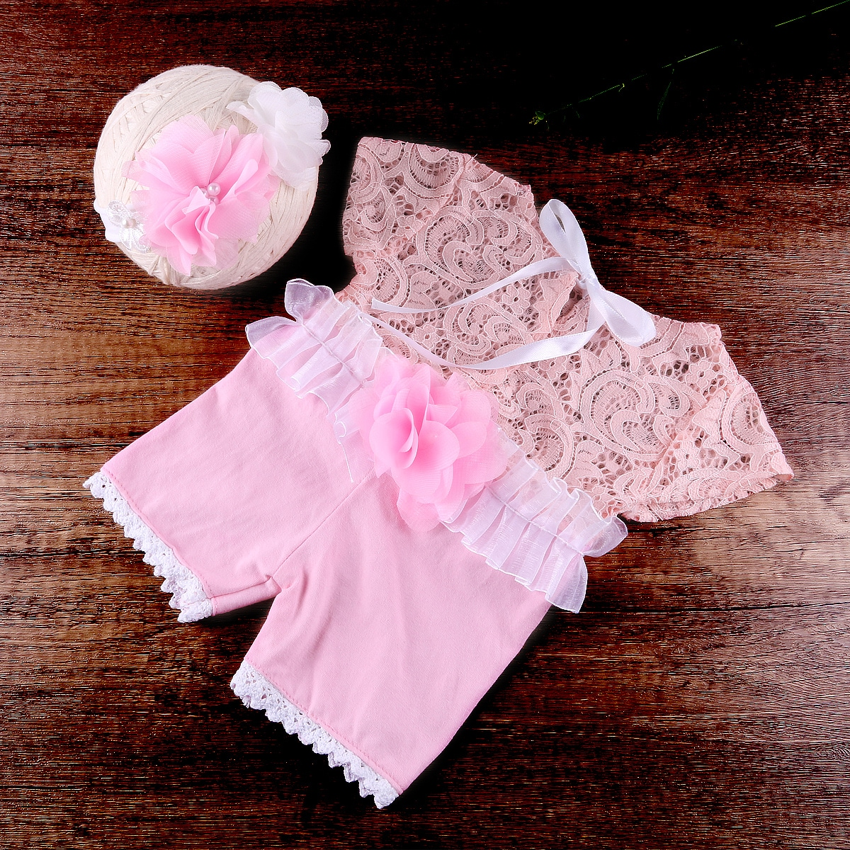 Newborn Girl Appliques Contrast Lace Romper With Headband Photo Outfit